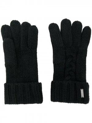 Перчатки фактурной вязки Michael Kors. Цвет: черный