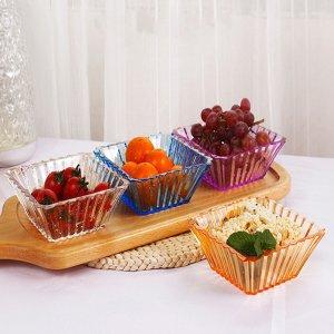 4шт квадратная закусочная тарелка SHEIN. Цвет: многоцветный