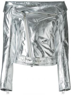 Кожаная байкерская куртка Faith Connexion. Цвет: металлический