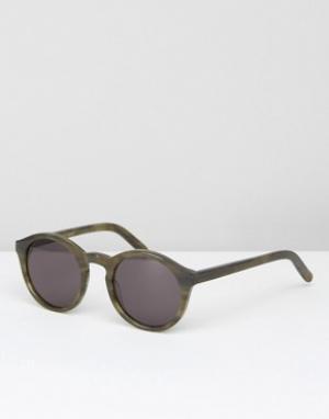 Солнцезащитные очки в круглой зеленой оправе Monokel Barstow Eyewear. Цвет: зеленый