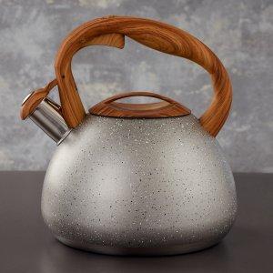 Чайник со свистком 2,7 л stone серый, ручка soft-touch, индукция Magistro