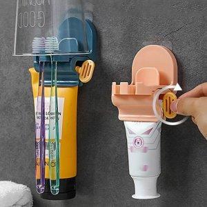 1шт случайная соковыжималка для зубной пасты и держатель зубных щеток SHEIN. Цвет: многоцветный