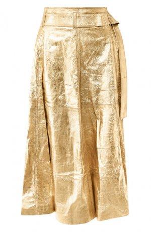 Кожаная юбка Golden Goose Deluxe Brand. Цвет: золотой
