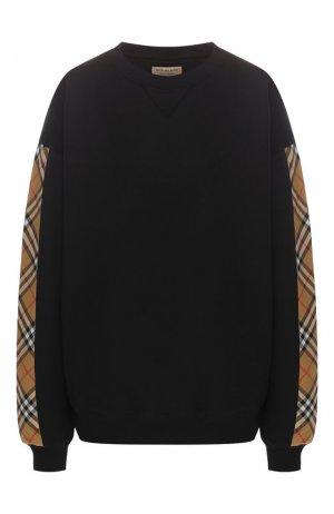 Хлопковый пуловер Burberry. Цвет: черный