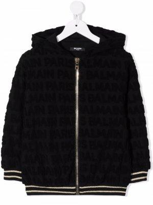 Contrast-trim cotton hoodie Balmain Kids. Цвет: черный
