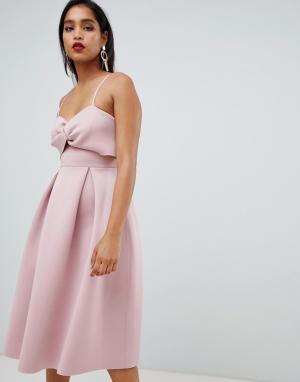 Платье миди для выпускного с кроп-топом -Розовый ASOS DESIGN
