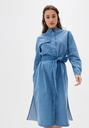 Платье джинсовое Selected Femme. Цвет: голубой