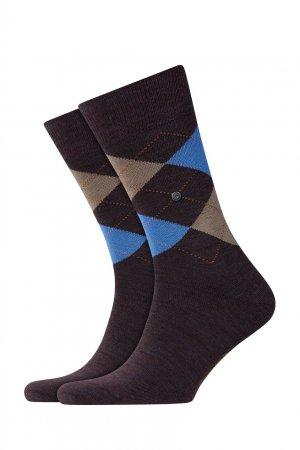 Коричневые трикотажные носки с ромбами Burlington. Цвет: красный