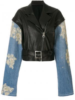 Байкерская куртка с джинсовыми рукавами Almaz. Цвет: чёрный