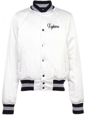 Куртка-бомбер с вышивками Fighters Amiri. Цвет: белый