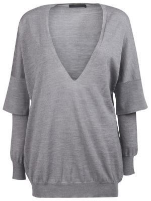 Шерстяной пуловер Les Copains. Цвет: серый