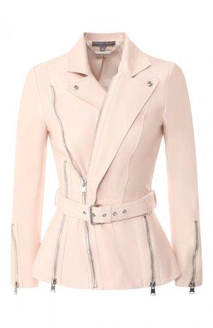 Кожаная куртка с косой молнией Alexander McQueen. Цвет: розовый