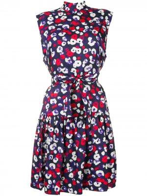 Платье без рукавов с оборками и поясом Derek Lam. Цвет: синий