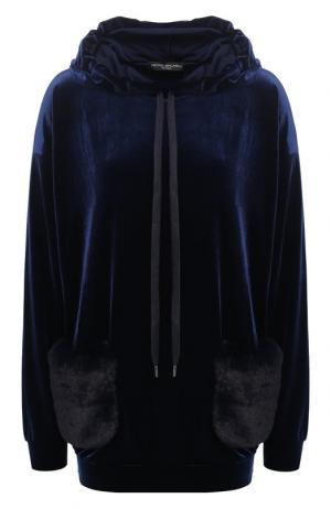 Бархатный пуловер с капюшоном и накладными карманами Pietro Brunelli. Цвет: синий