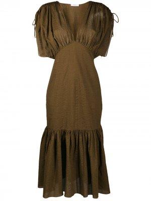 Фактурное платье Marysia. Цвет: коричневый