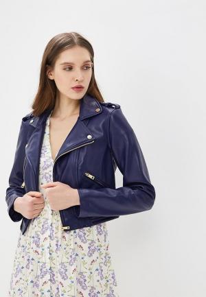 Куртка кожаная Guess Jeans GU644EWZTZ57. Цвет: синий