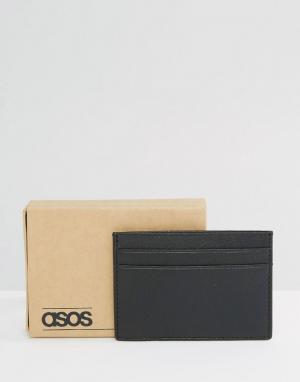 Черная кожаная визитница ASOS. Цвет: черный