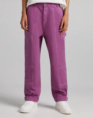 Розовые джинсы широкого кроя от комплекта -Розовый цвет Bershka