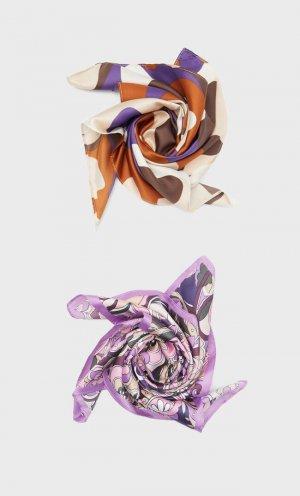 Набор Из 2 Бандан В Стиле Ретро С Цветочным Принтом Пурпурный 103 Stradivarius. Цвет: пурпурный