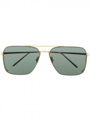 Позолоченные солнцезащитные очки-авиаторы Asher Linda Farrow. Цвет: золотистый
