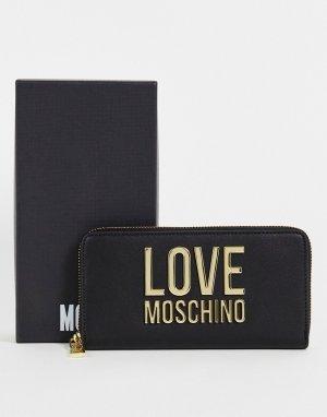 Черный бумажник с большим логотипом -Черный цвет Love Moschino
