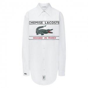 Хлопковая рубашка Lacoste. Цвет: белый