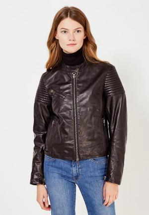 Куртка кожаная Blouson. Цвет: черный