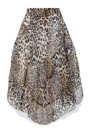 Объемная юбка-миди из шелковой органзы с анималистичным мотивом ERMANNO SCERVINO. Цвет: коричневый