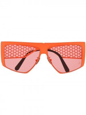 Солнцезащитные очки с сетчатыми дужками Philipp Plein. Цвет: оранжевый