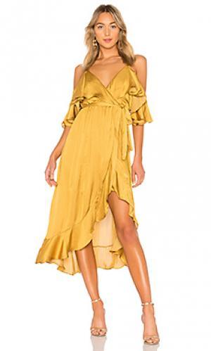 Платье с запахом bea Bardot. Цвет: горчичный
