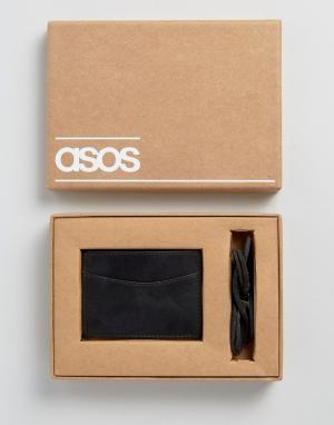 Браслет и визитница ASOS. Цвет: черный