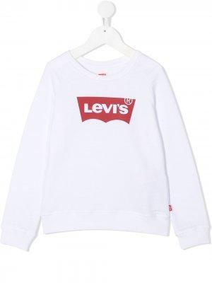 Levis Kids толстовка Key Item Logo Crew Levi's. Цвет: белый