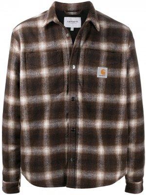 Куртка-рубашка в клетку Carhartt WIP. Цвет: коричневый
