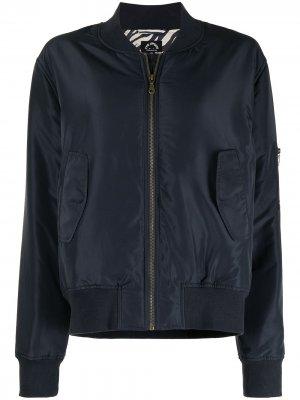 Куртка-бомбер Mara с зебровым принтом The Upside. Цвет: синий