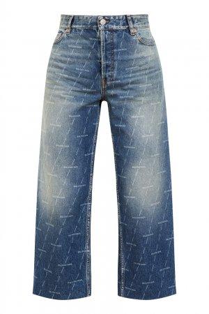Широкие укороченные джинсы Balenciaga. Цвет: голубой