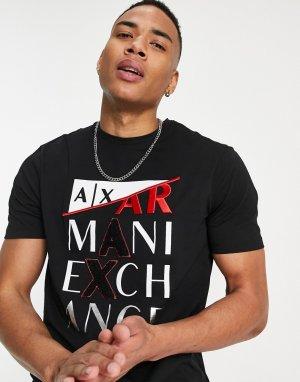 Черная футболка с крупным логотипом -Черный цвет Armani Exchange
