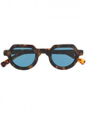 Солнцезащитные очки в круглой оправе Brain Dead. Цвет: коричневый