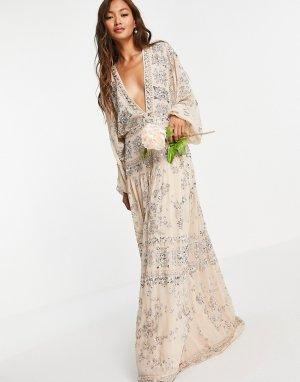 Розовое свадебное платье с пайетками в крапинку Audrey-Розовый цвет ASOS EDITION