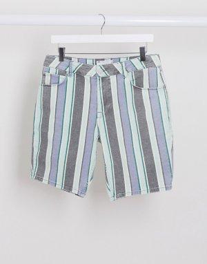 Зауженные джинсовые выбеленные шорты в полоску -Голубой ASOS DESIGN