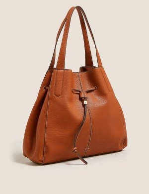 Большая сумка из искусственной кожи M&S Collection. Цвет: загар
