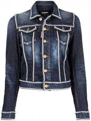 Джинсовая куртка с вышивкой бисером Dsquared2. Цвет: синий