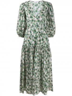 Платье с заниженной талией и абстрактным принтом Marysia. Цвет: зеленый