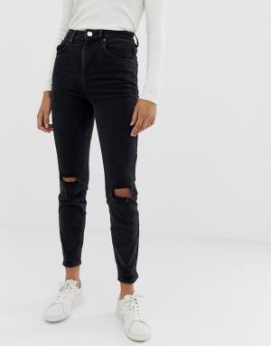 7e1230ba547 Черные рваные джинсы в винтажном стиле с завышенной талией Farleigh ASOS  DESIGN. Цвет  черный