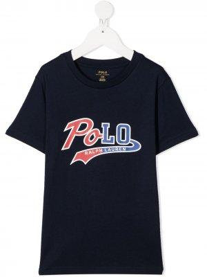 Футболка с круглым вырезом и логотипом Ralph Lauren Kids. Цвет: синий