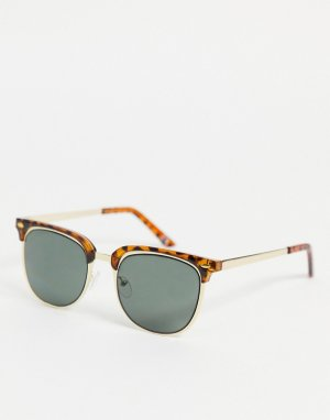 Солнцезащитные очки в стиле ретро золотистой оправе с черепаховой отделкой и зелеными линзами -Золотистый ASOS DESIGN