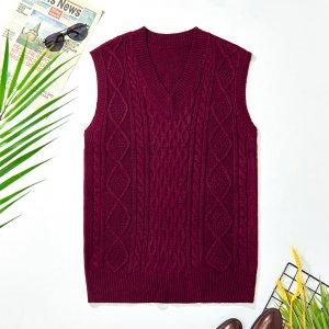 Мужской вязаный свитер с v-образным вырезом, жилет SHEIN. Цвет: бургундия