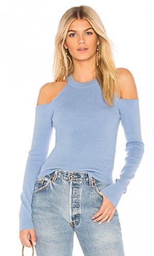 Пуловер с открытыми плечами gemma MAJORELLE. Цвет: нежно-голубой