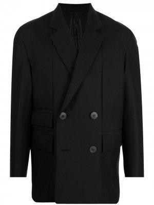 Двубортный пиджак строгого кроя Wooyoungmi. Цвет: черный
