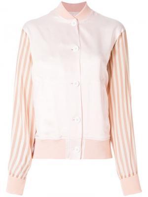 Куртка-бомбер с полосками на рукавах Mm6 Maison Margiela. Цвет: розовый