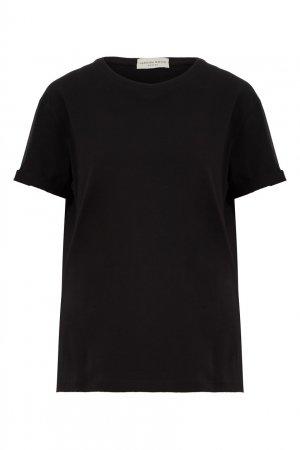 Черная хлопковая футболка LAROOM. Цвет: черный